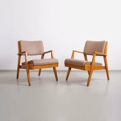 Jens Risom; Wood and Leather Lounge Chairs for Jens Risom Design Inc., 1950s.