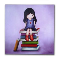 Girl sitting on books purple canvas print by jolinne on Etsy