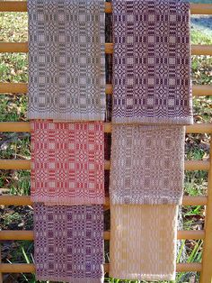 Autumn Mushroom Towels: A cotton warp whose colors are inspired by the gorgeous and subtle colors of fall mushrooms. Draft is an 8 shaft adaptation of a traditional overshot pattern. Each towel has a different weft, tie-up or treadling.