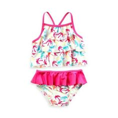 Baby Buns 2-Piece Ruffle Palm Print Swimsuit in White/Pink - buybuyBaby.com