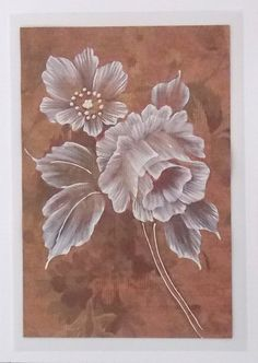 Texture Painted Floral Greeting Card with Roses - SOLD! China Painting, Tole Painting, Fabric Painting, Painting & Drawing, Pinterest Pinturas, Donna Dewberry Painting, Mud Paint, Brush Embroidery, Paint Cards