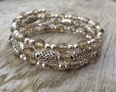 Smokey Sparkle Multi Coil Memory Wire Bracelet by McHughCreations....this is without a doubt the most pinned bracelet on my board ;-)