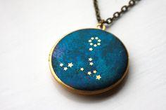 Pisces Constellation illustrated brass locket by HiddenTales