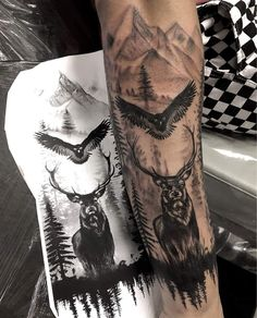 You are in the right place about Hunting Tattoos arrow Here we offer you the most beautiful pictures Forarm Tattoos, Forearm Sleeve Tattoos, Best Sleeve Tattoos, Tattoo Sleeve Designs, Tattoo Designs Men, Leg Tattoos, Tattoos For Guys, Stag Tattoo, Wolf Tattoo Sleeve