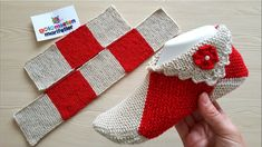 Dowry puzzle booties making with two skewers / easy booties making with two skewers … - knitting Knitting Blogs, Baby Knitting Patterns, Knitting Socks, Knitting Stitches, Crochet Patterns, Crochet Baby, Crochet Cross, Crochet Hooded Scarf, Booties Crochet