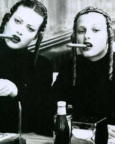 Vogue Paris August 1993 Models: Shalom Harlow & Bridget Hall Photographer: Ellen von Unwerth