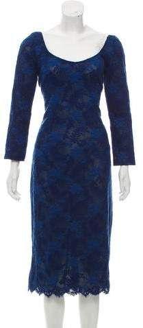 L'Wren Scott Linen-Blend Midi Dress w/ Tags