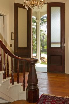 McGilvery House For Sale Searsport Maine, 1863  Narrow double front entry doors and spindle type newel posts and graceful railings are characteristic of mid-1800's homes, especially Italianate and Second Empire style homes.