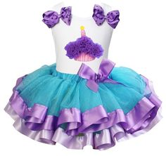 Girls Blue Purple Lavender Trimmed Tutu with Cupcake White Tank Top