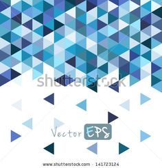 Geometric mosaic pattern from blue triangle texture, abstract vector background illustration, can be used invitation card, website design, w...