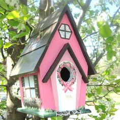 Hand Painted Pink and Brown Birdhouse
