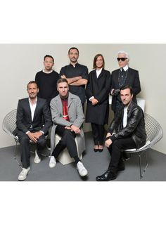 The LVMH Prize designer jury: Marc Jacobs, Humberto Leon, Raf Simons, Riccardo Tisci, Phoebe Philo, Karl Lagerfeld and Nicolas Ghesquière.