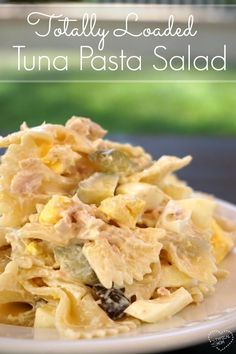 Totally loaded tuna pasta salad recipe that rocks!! You've gotta' try this tuna pasta salad with dill, it's incredible!