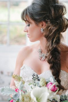 wedding hairstyle for long hair http://www.weddingchicks.com/2014/04/09/illuminated-industrial-wedding-ideas/