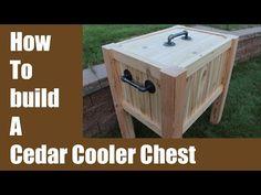 Build a Cedar Cooler Chest - Iron Pipe Hardware! Deck Cooler, Pallet Cooler, Wood Cooler, Cooler Stand, Outdoor Cooler, Cooler Box, Wood Pallets, Pallet Wood, Diy Wood