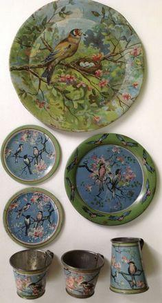 "Antique 1920 Ohio Art tin-litho toy tea set ""Bluebirds and Blossoms"" #OhioArt"