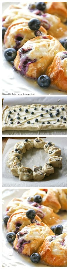 This Blueberry Lemon Crescent Ring is perfect for breakfast or brunch. Crescent rolls: