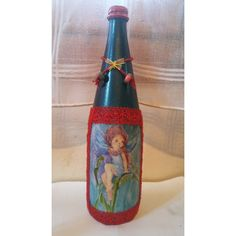 Marble by the technique of decoupage. Metallic Blue, Decoupage, Wine, Bottle, Handmade, Home Decor, Hand Made, Decoration Home, Room Decor
