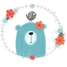 Blue bear, bird and flowers #100daysofdrawingflowers #the100dayproject…