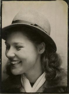 +~ Vintage Photo Booth Picture ~+  Young woman with a hat and a beautiful smile.