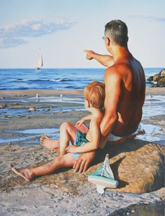"""""""Me And My Dad"""" -- Tom Sierak (1950, American)  In this instance, substituting a loving dad for a loving mom."""