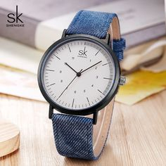Shengke Casual Watches Women Girls Denim Canvas Belt Women Wrist Watch Reloj Mujer 2019 New Creative Female Quartz Watch Outfit Accessories From Touchy Style. Best Kids Watches, Cheap Watches, Casual Watches, Women's Watches, Quartz Watch, Hijab Bride, Wedding Hijab, Wedding Dresses, Canvas