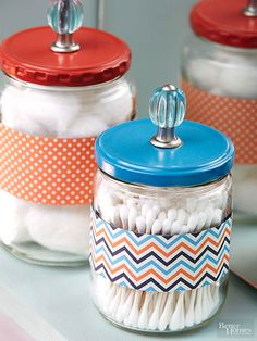 Rescue pickle jars or other glass containers from the recycle bin, and give them a new purpose holding cotton products. To accommodate the knob, drill a hole in the center of the lid. Prime and paint the lids, and let dry. Spray with a clear sealer to protect the paint. Once dry, attach each knob, and cut off the excess shank. For a final pop of color, glue strips of punchy patterned paper to the jars.