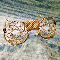 Gold day tripper glasses - dreamcatcher sunglasses handmade festival wear hippie costume bohemian eyewear glasses