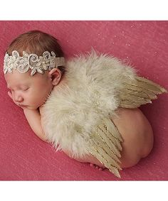 Another great find on #zulily! Tan Headband & Feather Wings by The Tiny Blessings Boutique #zulilyfinds