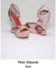These shoes are part of a collection of artist-decorated Terry de Havilland wedges.  The shoes are collectively called F*ck Me! Shoes .