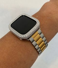 Two Tone Apple Watch Band Women Mens and or Lab Diamond Bezel Cover Iwatch Buy Apple Watch, Apple Watch Bands, Apple Watch Accessories, Gold Rolex, Lab Diamonds, Gold Bands, White Gold, Bling, Watches