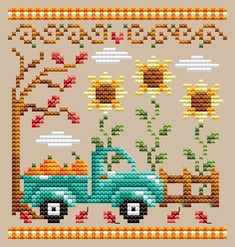 Pumpkin Truck - Shannon Christine Designs, You can cause very particular habits for textiles with cross stitch. Cross stitch models will nearly amaze you. Cross stitch newcomers will make the models they desire without difficulty. Cross Stitch Family, Fall Cross Stitch, Cross Stitch Kitchen, Mini Cross Stitch, Cross Stitch Alphabet, Counted Cross Stitch Kits, Cross Stitch Embroidery, Cross Stitching, Hand Embroidery