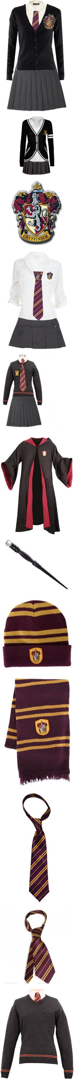 Harry Potter school uniform by kerstinxx on Polyvore featuring harry potter, dresses, hogwarts, gryffindor, uniform, harry potter., outfit, tops, fillers and jackets