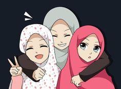 Foto Cartoon, Cartoon Kunst, Girl Cartoon, Cartoon Art, Best Friend Drawings, Girly Drawings, Muslim Pictures, Islamic Pictures, Cover Wattpad