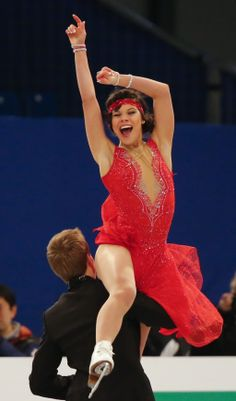 Ilinykh and Katsalapov of Russia perform during the Ice Dance Short Dance of the ISU European Figure Skating Championships in Budapest