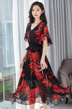 Learn how to dress up a style of maxi dress that flatters your body? Check this Korean Style Floral Print Chiffon Plus Size Maxi Dresses at EBUYTIDE. maxi dress formal maxi dress summer maxi dress casual boho maxi dress floral maxi dress maxi dress outfit  #maxidressformal #maxidress #maxidressesgorgeous #maxidressessummer #streetstyle #fashion #style #streetwear #maxidress Floral Print Maxi Dress, Print Chiffon, Chiffon Dress, Dress Formal, Dress Casual, Dress Up, Plus Size Long Dresses, Body Check, Summer Maxi
