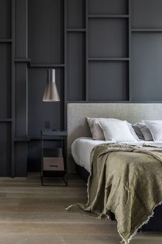 contemporary bedroom brussels home Modern Mens Bedroom, Contemporary Bedroom, Modern Room, Men's Bedroom Design, Bedroom Wall Colors, Home Bedroom, Bedroom Decor, Bedrooms, Concrete Bedroom