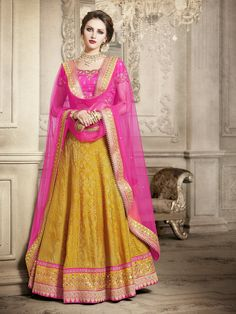 Elements Lehenga in Royal Pink and Orange Combination