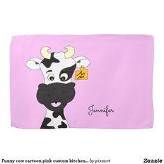 Funny cow cartoon pink custom kitchen towel