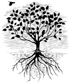 Simple Tree with Roots Drawing | love the idea of getting a tree. It is something that can be adapted ...