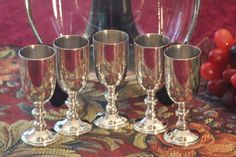 Im offering a set of 5 silver plate stemware cordial glasses by W. & S. Blackington.