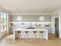 Modern Kitchen Interior Unique kitchen pendant lights will always have a place. Modern Kitchen Island, Modern Kitchen Design, Interior Design Kitchen, Kitchen Designs, Kitchen Islands, White Contemporary Kitchen, Modern Design, One Wall Kitchen, Home Decor Kitchen