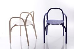 Curved lines turned into a chair. This is made out of wood too!