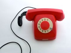 Vintage red rotary telephone by ArtmaVintage on Etsy, $69.00