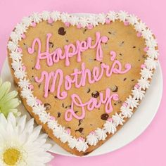 "Giant Happy Mother's Day Cookie $25.00 Send delicious and heartfelt wishes for Mother's Day with an 8"" heart shaped chocolate chip cookie decorated in butter cream icing. www.adamesgifts.com"