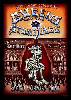 Queens of the Stone Age w/ the Distillers devil's night poster (click image for more detail) Artist: EMEK Venue: Santa Barbara Bowl Location: Santa Barbara, CA