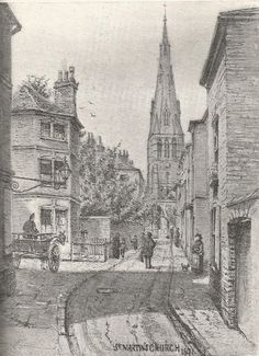 Leicester Cathedral (then St Martin's church) from New Street 1891. From Glimpses of Ancient Leicester by Mrs T Fielding Johnson.