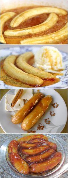 GENTE,ESSA BANANA CARAMELIZADA FICA DIVINA..APRENDA PASSO A PASSO!! VEJA AQUI>>>Espere o açúcar chegar no ponto de caramelo(quando estiver derretendo) e  #receita#bolo#torta#doce#sobremesa#aniversario#pudim#mousse#pave#Cheesecake#chocolate#confeitaria Doce Banana, Sweet Pizza, Good Food, Yummy Food, Banana Chips, Desert Recipes, Finger Foods, Food Porn, Food And Drink