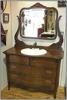 images of dresser into a bathroomvanity | this antique bathroom vanity used an oak dresser