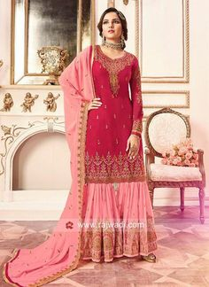 07315d138c Heavy Embroidered Gharara Suit with Dupatta